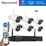 [H.265 Faster Video Transfer] Wireless Security Camera System, NexTrend 8CH 1080P WiFi NVR Home Security System with 6pcs Outdoor IP Security Camera, 65ft Night Vision, 1TB Hard Drive Pre-Installed