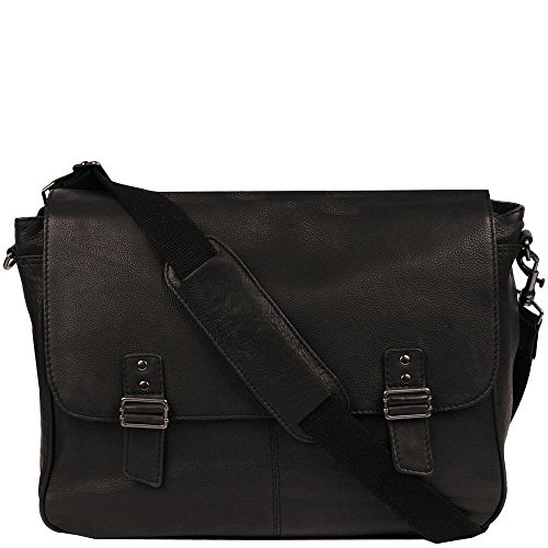 Wilsons Leather Mens Double Magnetic Snap Closure Leather Messenger Bag Black