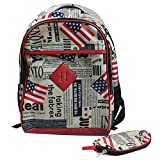 PVC Union Jack UK US Great Britain Flag College School Laptop Backpack Satchel Review