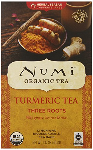 Numi Organic Tea -- Turmeric Tea -- Three Roots Blended with Ginger Licorice & Rose -- Non-GMO Biodegradable Tea Bags  (Pack of 3)(12 bags per box) Organic Golden Ginger Tea