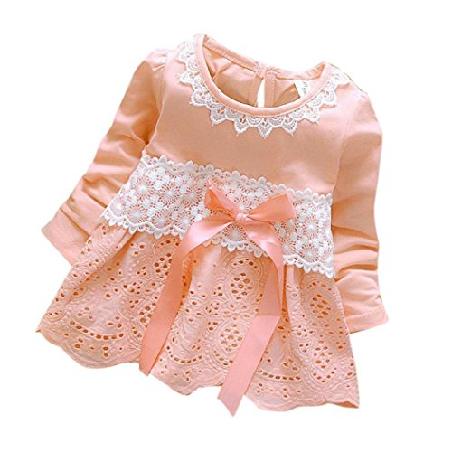 Girls Clothes Odeer 2017 Baby Girls Long Sleeve Party Lace Flower Bow Princess Dress Kids Clothes (ღSize : 6 Month, ღ : Pink)