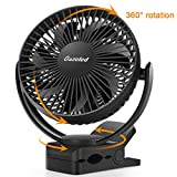 Stroller Clip on Fan, Rechargeable Battery & USB Camping Fan, 5200mAh Battery Fan, Timer, 3 Speeds, Strong Clamp, 7 Blade, Clip & Desk Fan 2 in 1, Quiet for Baby Stroller,Crib/Treadmill/Office/Outdoor