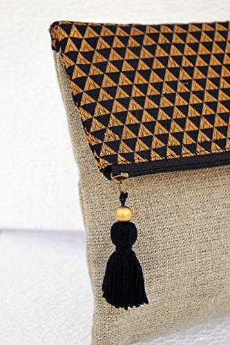 boho lino sacchetto, broccato, colore: Nero e Oro, modello a triangolo, marocchino, Foldover frizione, 25,4x 20,3cm