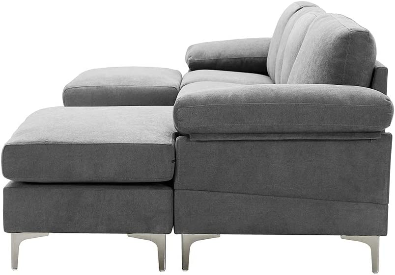 Large Sectional Sofa with Chaise Lounge and Ottomans,U-Shape Sectional Couch,Polyester Blend Upholstered Fabric,Metal Legs,Black Couch