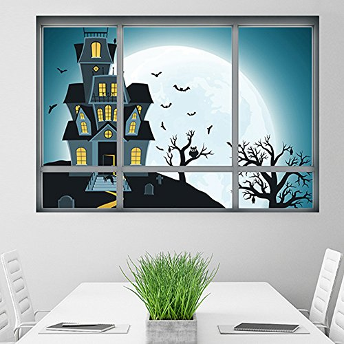 my fell 3D New Halloween Fake Windows Horror Room Vampire Devil Poster Wall Stickers KTV Wallpaper PVC Wall Decals Party Decoration