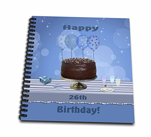 12x12 Album Chocolate (3dRose db_123912_2 26th Birthday Party with Chocolate Cake and Blue Balloons Memory Book, 12 by 12-Inch)