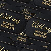 "Graphic Flavor Wedding Elegant Black and Gold Personalized Sticker Labels (70 Stickers @ 1"" Inch) Ideal for Reward Treat Favor Party Bags Candy Cones Jars Gift Boxes Bottles Crafts"