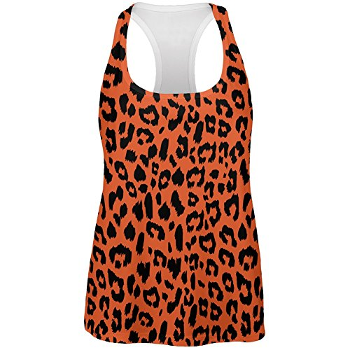 Orange Cheetah Print All Over Womens Work Out Tank Top -