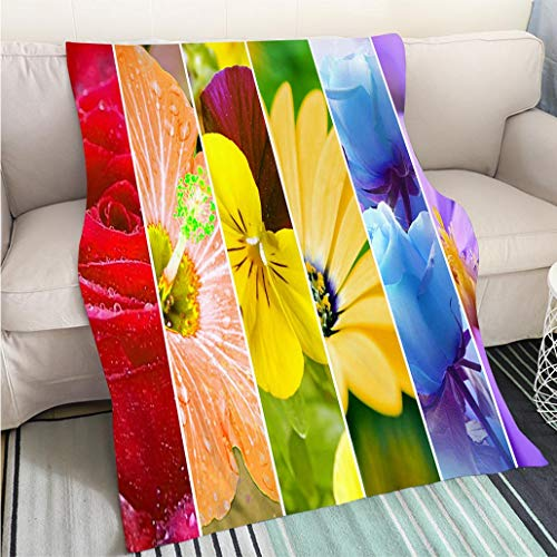 Super Soft Flannel Thicken Blanket Rainbow Stripes Flowers Wallpaper Large XXXL Image Hypoallergenic Blanket for Bed Couch Chair