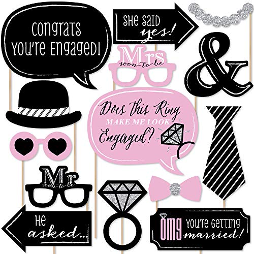 Engagement Photo Props (Big Dot of Happiness Omg, You're Getting Married - Engagement Photo Booth Props Kit - 20)