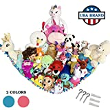 HOME4 Stuffed Animal Toy Storage Hammock Net with Fun Poms Poms - Organize Small, Large, Or Giant Stuffed Animals (Blue)