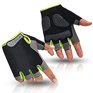 HuwaiH Cycling Gloves Men's/Women's Mountain Bike Gloves Half Finger Biking Gloves | Anti-slip Shock-absorbing Gel Pad Breathable Cycle Gloves (Black Green, Small)