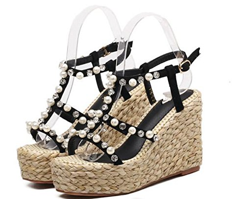 Pumps Party Pearl MNII Strap Noir Mode été Talons Chaussures Sandales Ladies Taille Toe Open Ankle Womens forme Wedge Hauts Plate Yx4qS6wtq