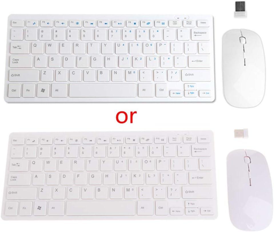JohnnyBui Wireless 2.4GHz Mini Keyboard Ultra-Thin Mouse Combo Set For Desktops Laptops JUL26