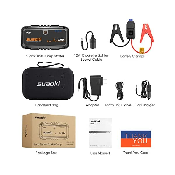Suaoki U28 2000A Peak Jump Starter Pack For ALL Gas Or 80L Diesel Engines With USB Power Bank LED Flashlight And Smart Battery Clamps For 12V Car Boat