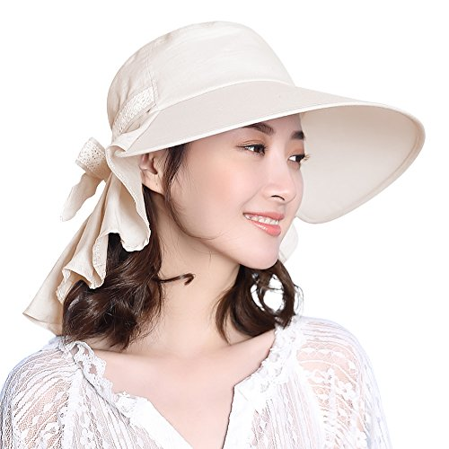 Womens Sun Protection Hats Summer Gardening Fishing Hiking Shade Hat SPF 50 Wide Brim Packable Beige Siggi (Best Sun Hat For Hiking)