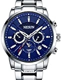 Men's Business Mechnicial Self Wind Calendar Analog Classic Full Stainless Steel Wrist Watches Sports (Blue Dial-Silver)