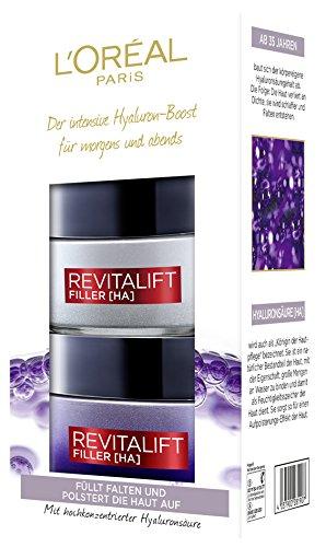 L'Oréal Paris hochdosiertes Hyaluronsäure Anti-Aging Geschenkset, Tag und Nacht Gesichtspflege gegen Falten, Revitalift Filler