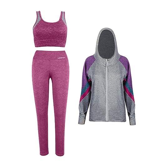 TYUE Conjunto de 3 Piezas de Traje Deportivo para Mujer Yoga de ...