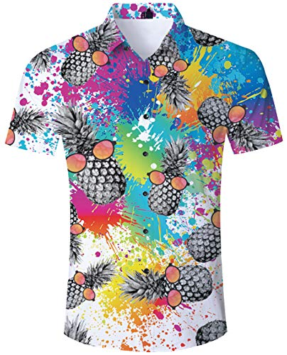 TUONROAD Adult Casual Youth Traditional Tropic Aloha Hawaiian Luau Shirt Tie Dye Pineapple Adult Vintage Button Down Shirt Hilarious Short Sleeve Shirt Vintage Hawaiian Shirts for Holiday ()