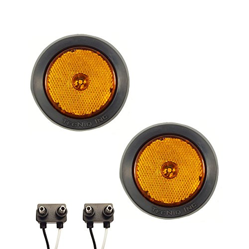 "Pair of LED 2.5"" Round Amber Clearance/Side Marker Lights with Grommets and 2 Pole Wire Connectors for Trucks, Trailers, RVs"