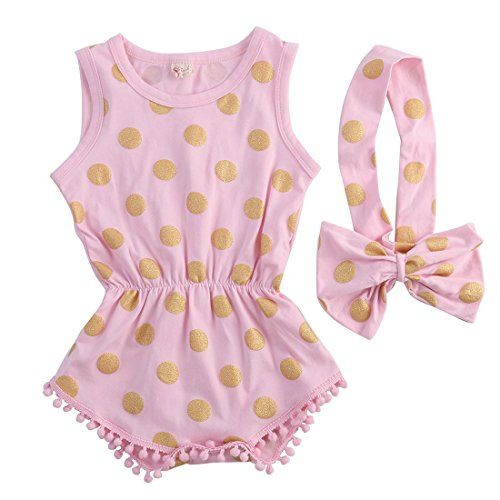 Baby Girl Clothes Gold Dots Bodysuit Romper Jumpsuit One-pieces Outfits Set (12-18 Months, Pink)