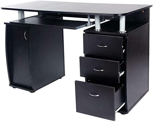 Black Home Office Style Computer Desk Slide-Out Keyboard Tray 3 Storage Drawers 1 Cabinet