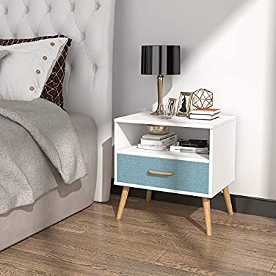 Lifewit Nightstand Bedroom Table Bedside Table, 1 Fabric Drawer, Chipboard and Wooden Legs, Sturdy and Durable, White - ATTRACTIVE APPEARANCE: Fashionable design better decorate your home. DIMENSIONS: 19.7 x 15.7 x 23.6 in ( 50 × 40 × 60 cm ). It is big enough to use beside your bed or any other place you want. LARGE CAPACITY: The top shelf provides plenty of room for displaying books, photos and decorative ornaments, while the second shelf drawer offering additional storage space to storage miscellaneous items out of sight in an organized arrangement. - nightstands, bedroom-furniture, bedroom - 51fdaKz2T2L. SS400  -