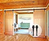 CCJH Crown Style Sliding Barn Wood Door Sliding Track Hardware Kit (6FT for Double Door)