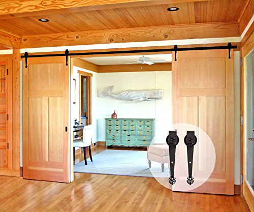 CCJH Crown Style Sliding Barn Wood Door Sliding Track Hardware Kit (6FT for Double Door) by CCJH