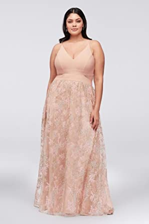 Davids Bridal Jersey Plus Size Prom Dress With Embroidered Mesh Skirt Style 833XW, Blush,