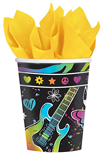 Amscan Vibrant Neon Birthday Party Paper Cups Disposable Drinkware (8 Pack), 9 oz, Multicolor