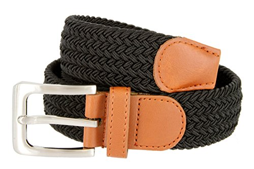 Elastic Fabric Woven Stretch Belt Leather Inlay Multi-Color Options