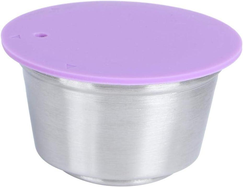 Longzhou Cápsulas de café Reutilizables, Taza de cápsula de café Recargable Reutilizable de Acero Inoxidable Apta para la cafetera Dolce Gusto(púrpura)