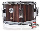 Firecracker Snare Drum by Griffin|Soprano Popcorn 10' x 6' Poplar Wood Shell & Black Hickory PVC|Concert Percussion Musical Instrument with Drummers Key & Deluxe Snare Strainer|Beginner & Professional