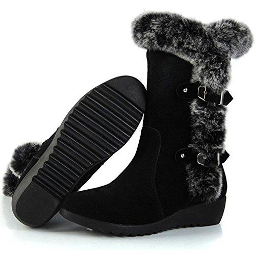 Ifantasy Womens Slip On Buckled Warm Rabbit Fur Mid Calf Snow Boots Black FjRhor