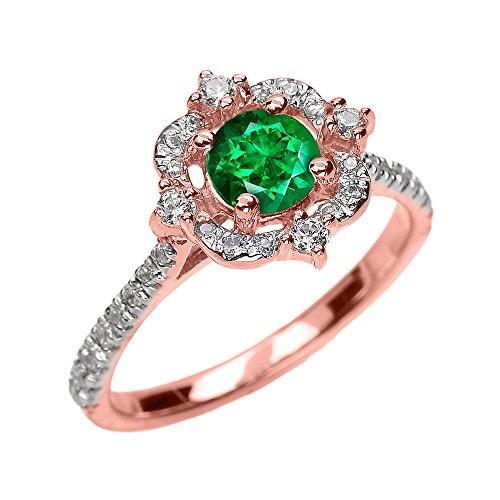 Bague Femme/ Bague De Fiançailles 14 Ct Or Rose Mai Pierre De Naissance Vert Emeraude Et Diamant