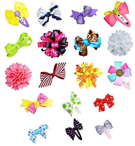 Assorted Hair Bows - Girl Toddler Baby Assorted Grosgrain Ribbon Hair Bow Snap Clips, Girl Alligator Clips, Barrettes 18pcs by ColorBeBe
