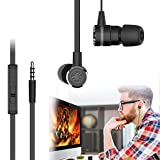 Cheap Gaming Earphone,Portable In-Ear Wired Earphone Noise Cancelling Magnet Earphones with Mic 3.5mm Jack with Extension Cable and PC Adapter for PC,Smartphones Gifts(Black)