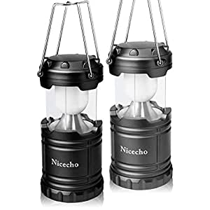 2 Pack Collapsible LED Camping Lanterns, Flashlights Emergency Tent Light for Backpacking, Hiking, Fishing - Outdoor Portable Lighting Camping Equipment