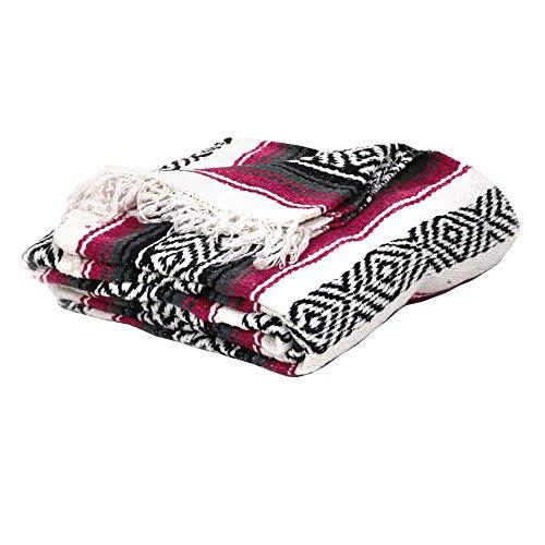 Cheap Sunnydaze Premium Mexican Beach Yoga Blanket, Fuchsia/Charcoal, 82 Inch Long x 54″ W