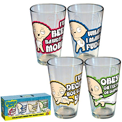 ICUP Family Guy Stewie Pint Glass, Monkey, Fudgie, Kill, Diaper, 4-Pack