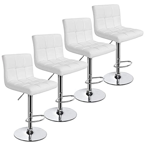 Yaheetech X-Large Bar Stools – Square PU Leather Adjustable Counter Height Swivel Stool Armless Chairs Set of 4 with Bigger Base,White