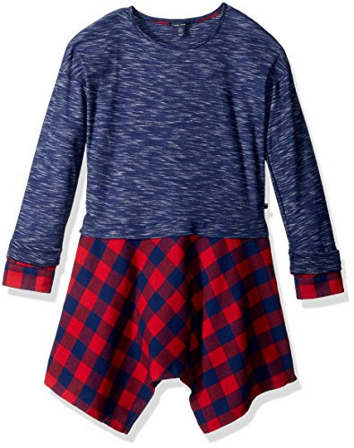 Tommy Hilfiger Big Girls' 2fer Rib and Flannel Dress, Flag Blue, X-Large Tommy Hilfiger Flannel