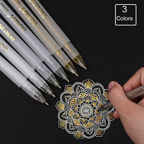 (Premium 3 Colors Gel Pen Set - White, Gold and Silver Gel Ink Pens for Black Paper Drawing, Sketching, Illustration Deisgn and Adult Coloring Book, Pack of 6)