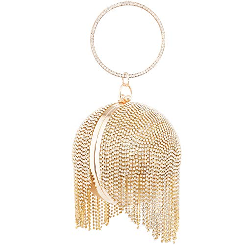 Womans Round Ball Clutch Handbag Dazzling Full Rhinestone Tassles Ring Handle Purse Evening Bag (C) by LONGBLE (Image #1)