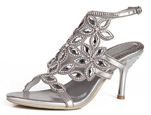 Jiandick Womens Floral Rhinestone Open Toe Stieletto Heels Wedding Prom Dress Heeled Sandals ()