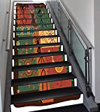 Stair Stickers Wall Stickers,13 PCS Self-adhesive,Primitive,Funky Tribal Pattern Depicting African Style Dance Moves Instruments Spiritual,Multicolor,Stair Riser Decal for Living Room, Hall, Kids Room