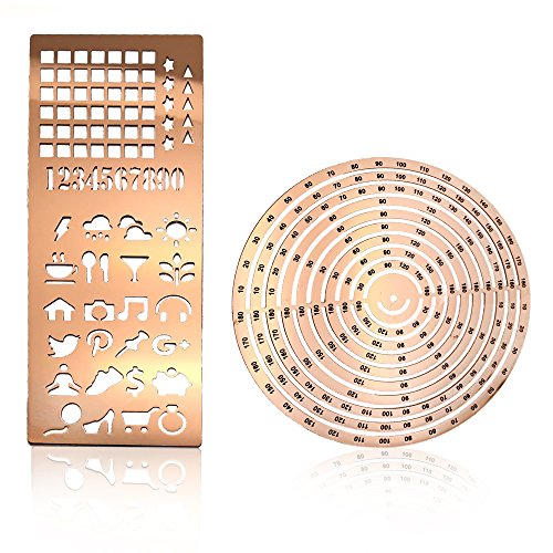 Stainless Steel Ruler Circle Stencil DIY with Letter Numbers Engraving Template for Bullet Journal Calendar Notebook Planner Agenda Scrapbook Album Craft Supplies for Adults Kids (Rose Gold)