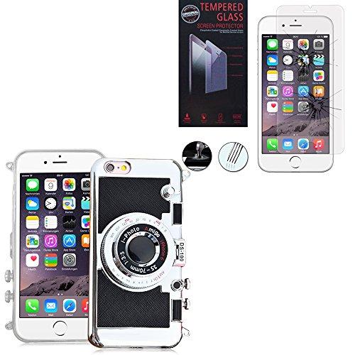 VCOMP® Camera case Coque Silicone TPU motif appreil photo élégant, support vidéo + mirroir couleur NOIR + 1 Film Verre Trempé couleur TRANSPARENT pour Apple iPhone 6/ 6s